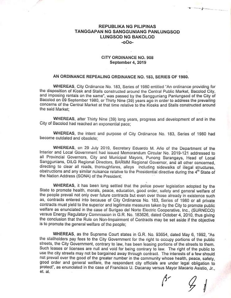Page 1 of the City Ordinance 908, Series of 2019.  Intended for vendors and market stall owners.