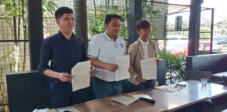 Bacolod Cong. Greg G. Gasataya (center) during the signing of a joint declaration with the local chapter of the Youth for Mental Health Coalition last year. With Gasataya are then Y4MH local head Louie Raner, left, and Charisse Erinn Flores of Akbayan Youth. | Photo courtesy of Pao Aguila