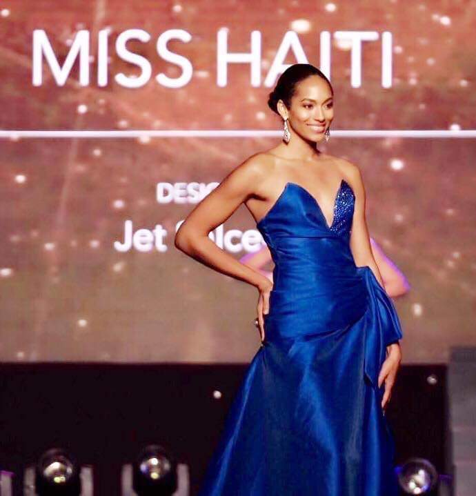 Crossing borders.  One of his creations was worn by Miss Haiti during the 2017 Miss Universe pageant.  Photo furnished to DNX by the designer.