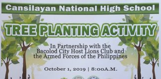 BACOLOD CITY - Bacolod City Host Lions Club members planted 300 trees and 450 fruit trees at Cansilayan National High School, Murcia, a news release from their Facebook page reveals.
