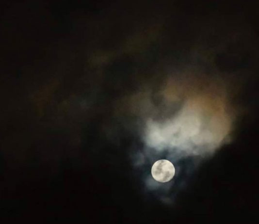 """A young wolf moon shot over the skies of Cebu by award-winning photojournalist Victor Kintanar. He writes on his post """"Tonight's Wolf Moon revealed to me a burning animal. As if souls of the millions of animals trapped in forest fires around the world are saying goodbye.""""   Photo by Victor D. Kintanar"""