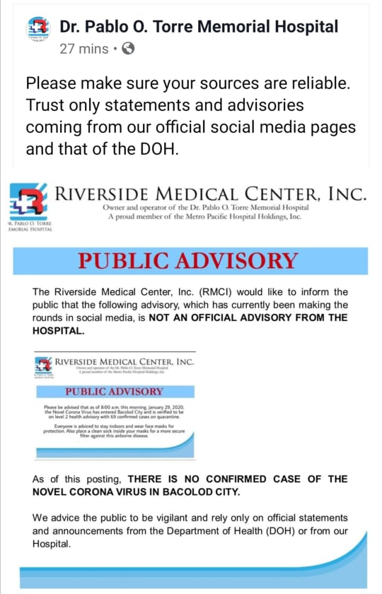 Riverside Medical Center, Inc. public advisory.