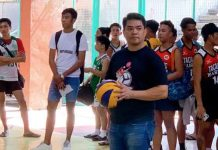 Councilor Al Victor Espino during the ceremonial opening serve of the volleyball cup he is sponsoring. | Photo from Al Espino Facebook page.