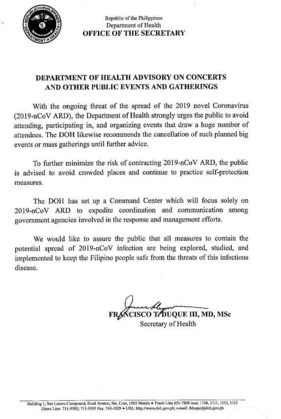 The DOH advisory discourages public events in the interest of public health and safety.