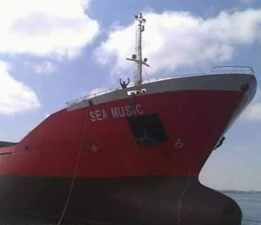 MV Sea Music is now anchored off the coast of San Carlos City.   Photo from San Carlos CDRMO