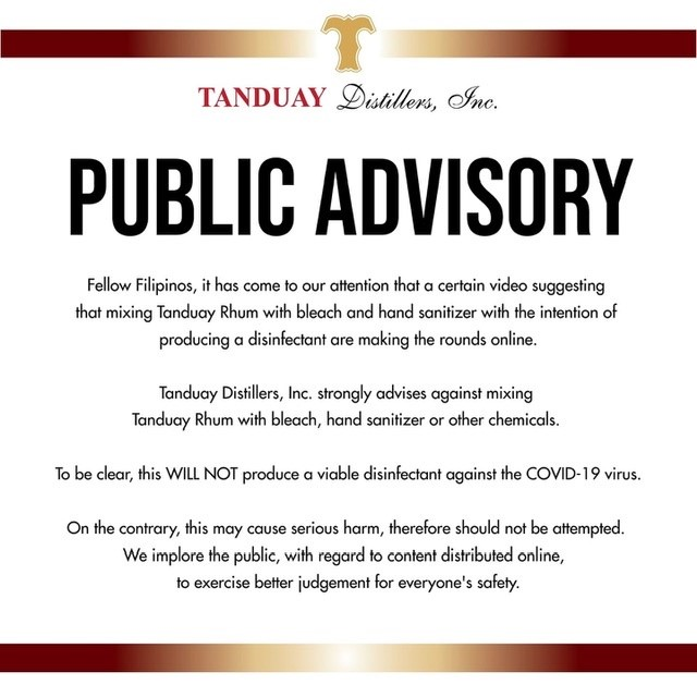 Tanduay advisory after DIY video started circulating.