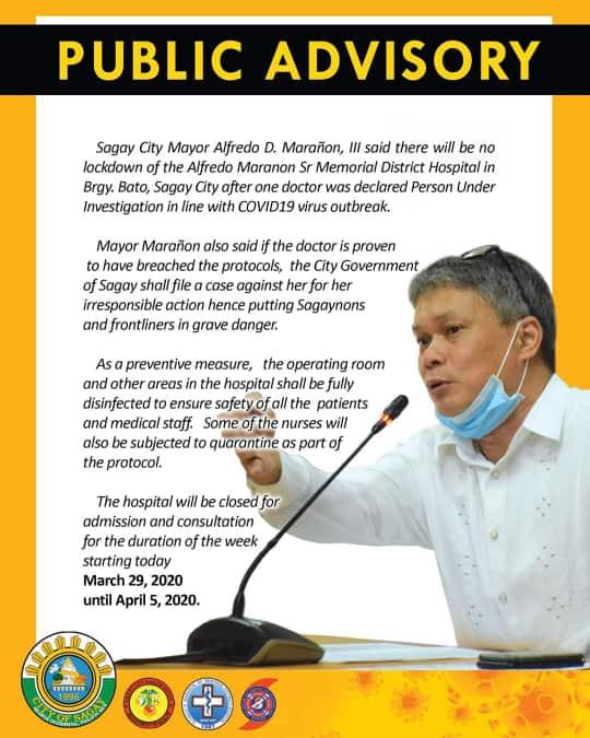 Sagay City Mayor Alfredo D. Marañon, III public advisory regarding the temporary closure of Alfredo E. Marañon, Sr. Memorial District Hospital. | Photo from I love Sagay FB page.