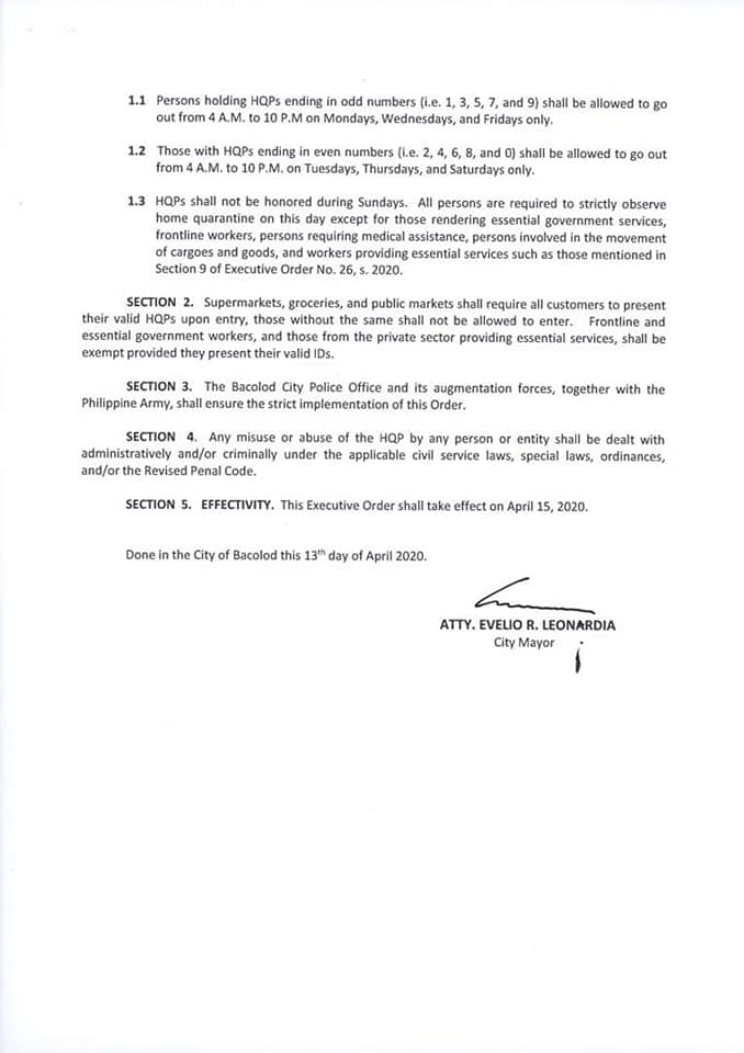 Executive Order No. 30 imposing a number coding scheme on the use of Home Quarantine Passes p2