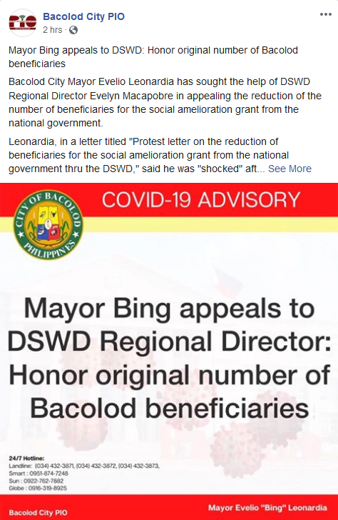PIO Bacolod Mayor Bing appeals to DSWD
