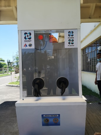 The Specimen Collection Booth donated to TLJPH has proper ventilation and protective barrier, as well as seats, ensuring safety and comfort for both front-liner and suspected COVID-19 patient.