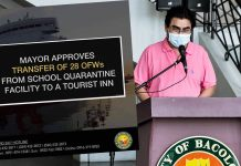 Bacolod Mayor Evelio Leonardia has allowed the transfer of the 28 OFWs now quarantined at the Lopez Jaena Elementary School to a tourist inn by tomorrow 2 May, after consulting with Councilor Renecito Novero, head of the Quarantine Centers Action Team (QCAT) and Councilor Israel Salanga, head of the Action Team for Returning OFWs (ATRO), a press release from the Bacolod City PIO said.