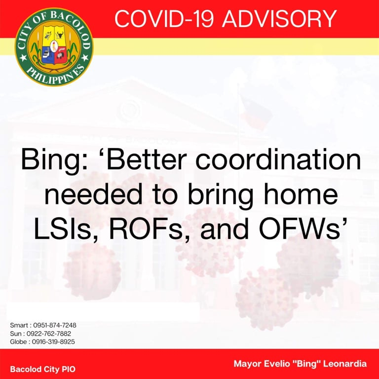 Mayor Evelio Leonardia appealed for better coordination between national government agencies and local government units regarding the return of locally stranded individuals (LSIs), returning overseas Filipinos (ROFs), and Overseas Filipino Workers (OFWs), during an online consultation meeting hosted by the Department of National Defense today [June 5].