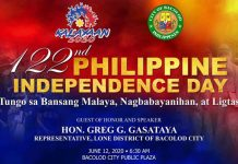 BACOLOD CITY, Negros Occidental, Philippines - Bacolod Cong. Greg Gasataya will be the guest of honor and speaker at the Bacolod celebration of the 122nd Philippine Independence Day tomorrow 12, June at the Bacolod Public Plaza that will start at 6:30 a.m., a press release from City Hall said.
