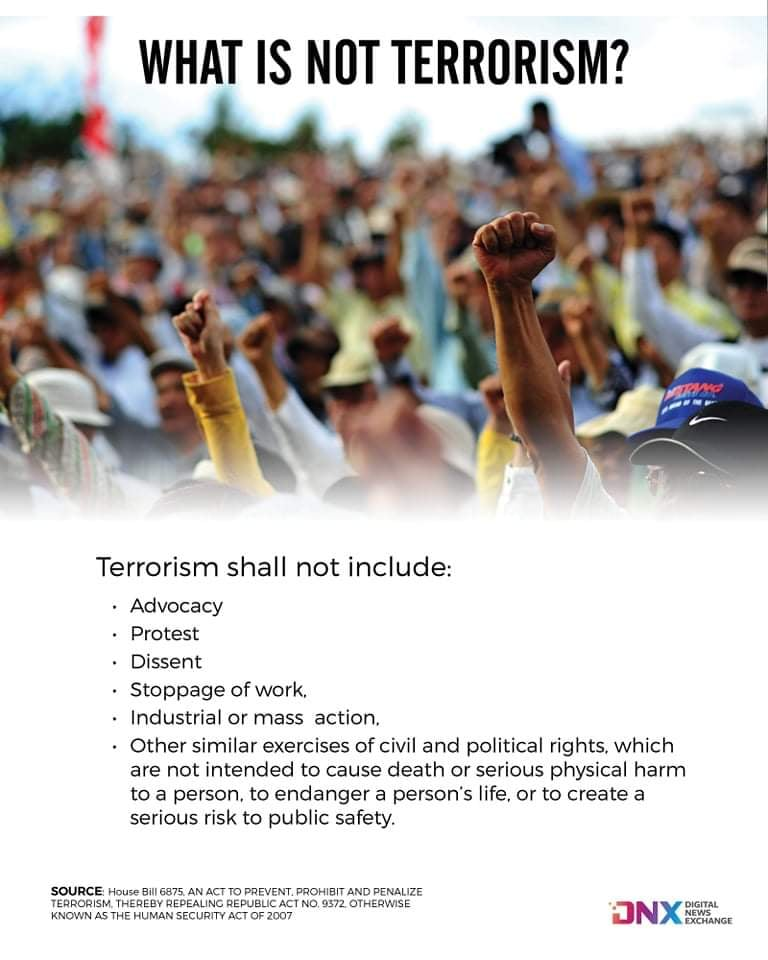 Terrorism shall not include: Advocacy, Protest, Dissent, Stoppage of work, Industrial or mass  action, Other similar exercises of civil and political rights, which are not intended to cause death or serious physical harm to a person, to endanger a person's life, or to create a serious risk to public safety.